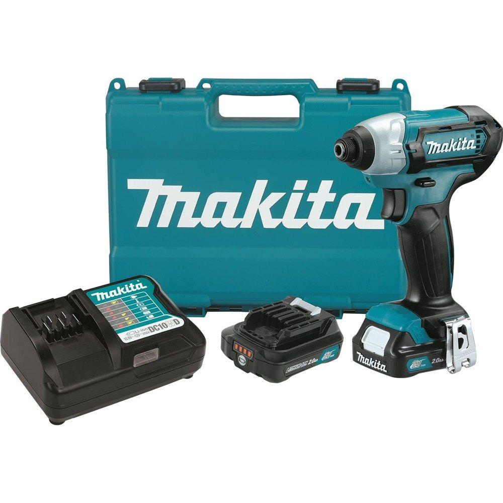 Makita 12-Volt MAX CXT Lithium-Ion 1/4 in. Cordless Impact Driver Kit with (2) Batteries 2.0Ah, Charger, Hard Case