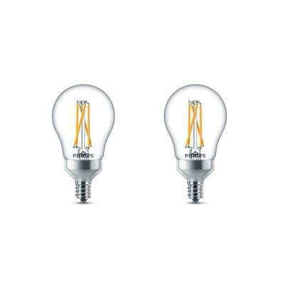 60-Watt Equivalent A15 Dimmable Candelabra Base LED Light Bulb with Warm Glow Dimming Effect Soft White (2-Pack)