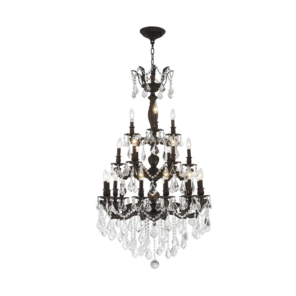 Versailles 21-Light Flemish Brass Chandelier with Golden Teak Crystal