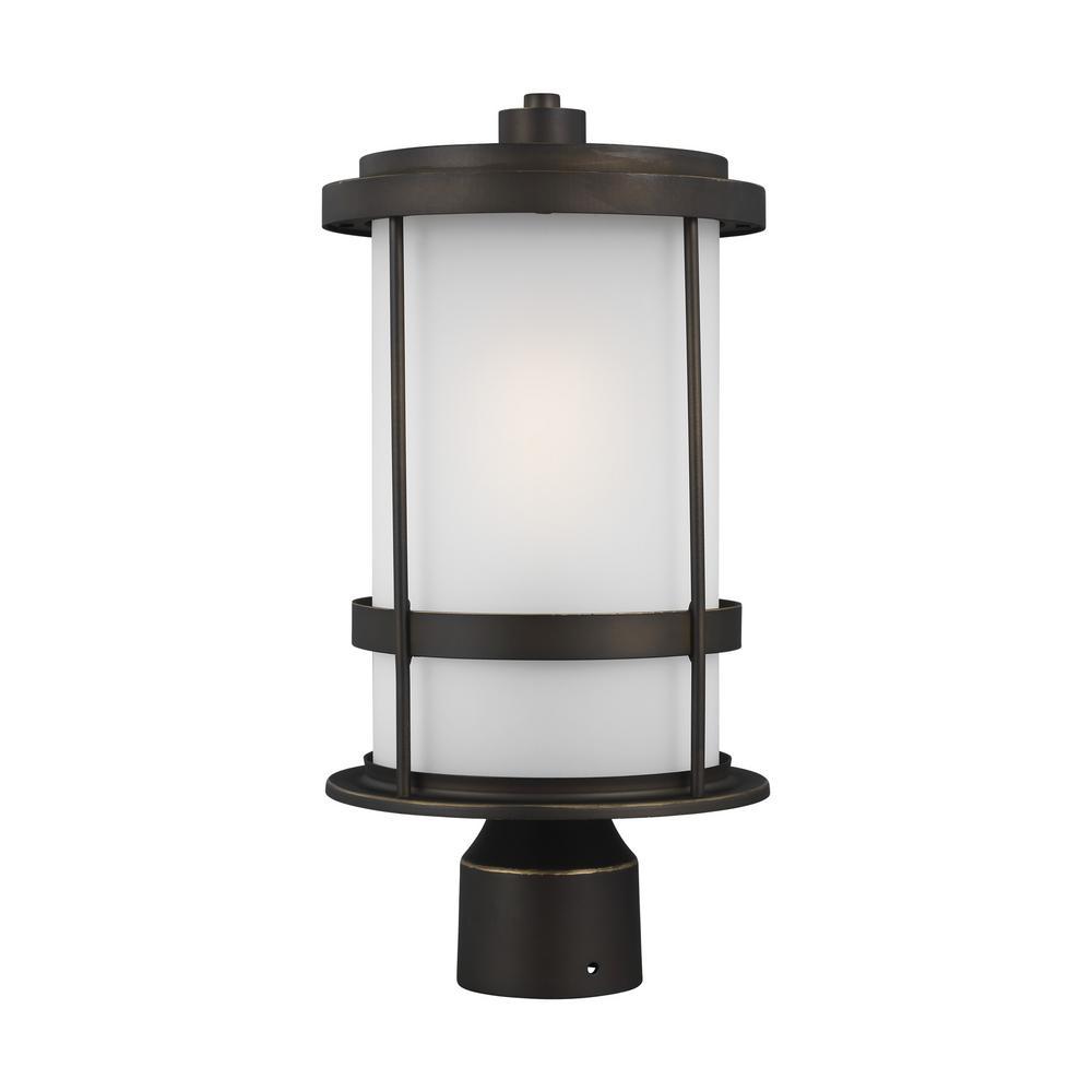 Wilburn 1-Light Antique Bronze Outdoor Post Lantern