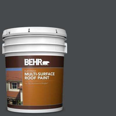 5 gal. #RP-32 Black Slate Flat Multi-Surface Exterior Roof Paint