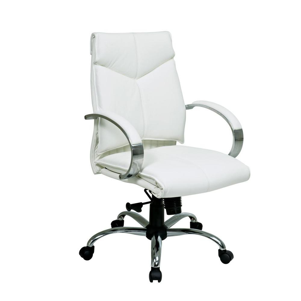 White Leather Mid Back Executive Office Chair