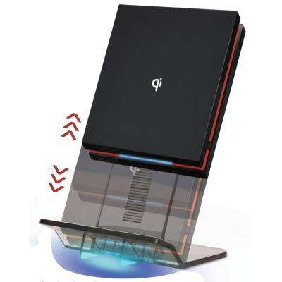 AirEnergy WPC Certified Qi Wireless Charging Pad with Detachable Elevator Stand, Black