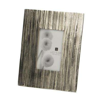 Aluminum Bark 1-Opening 4 in. x 6 in. Aluminum In Silver Picture Frame