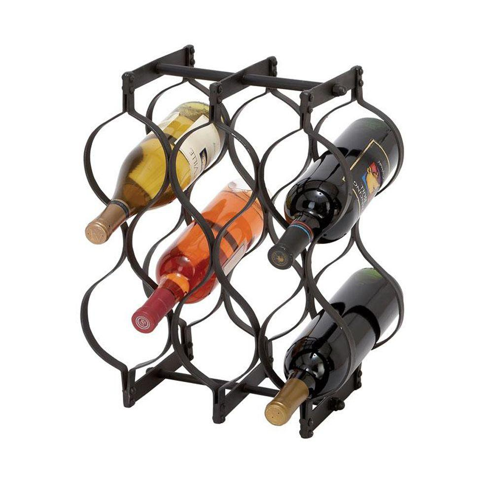 Home Decorators Collection 13 in. W Metal Wine Rack in Groovy Black