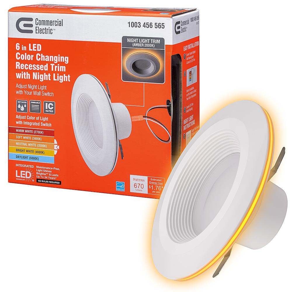 Commercial Electric 6 In Selectable Integrated Led Recessed Trim Can Light With Night Feature 5 Cct 670 Lumens 11 Watts Dimmable