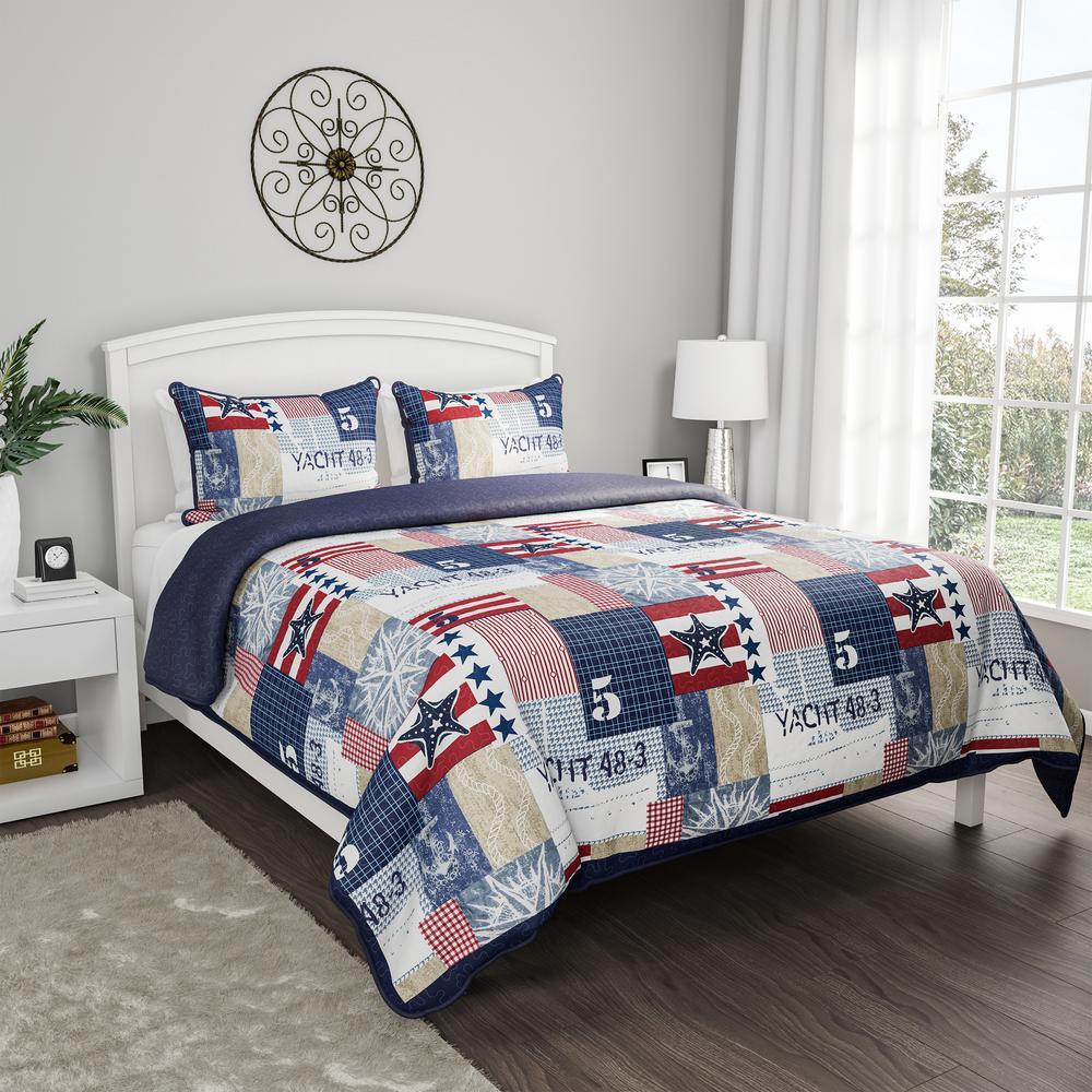 Nautical Americana Patchwork Print Microfiber Quilt Bedspread Set