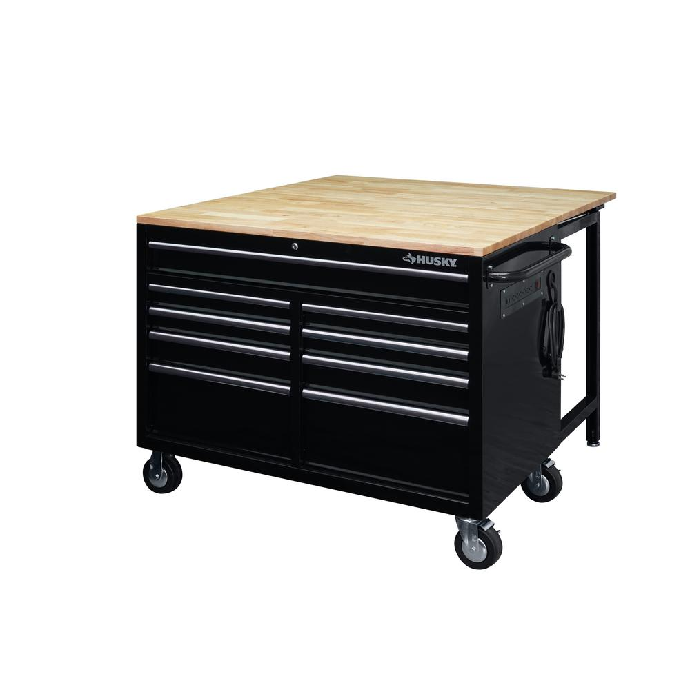 Husky 46 in. 9-Drawer Mobile Workbench with Full Length Extension Table and Legs in Black