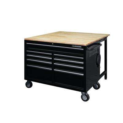 46 in. 9-Drawer Mobile Workbench with Full Length Extension Table and Legs in Black