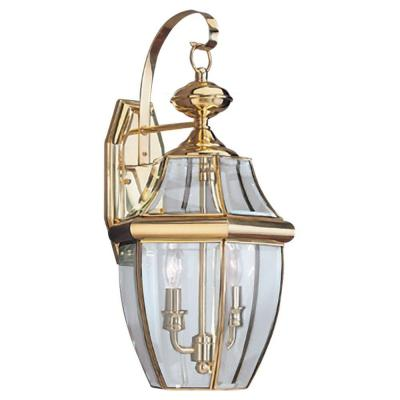 Lancaster 10 in. W 2-Light Polished Brass Outdoor 20.5 in. Wall Lantern Sconce with Clear Beveled Glass