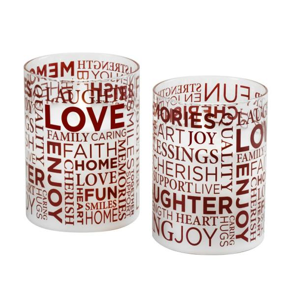 Battery Operated LED Glass Candles with Moving Flame - Inspirational Words (set of 2)