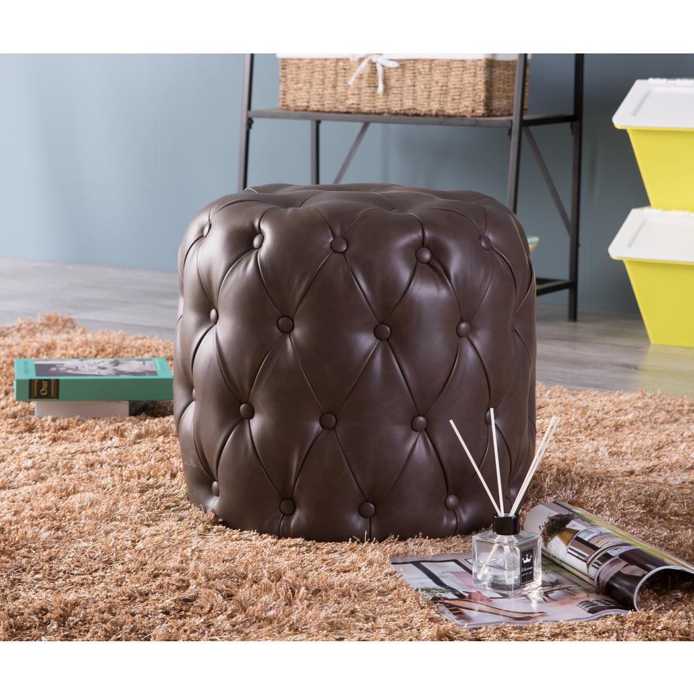 Pleasing Tufted Brown Modern Leather Round Ottoman Stool Qi003535B Machost Co Dining Chair Design Ideas Machostcouk