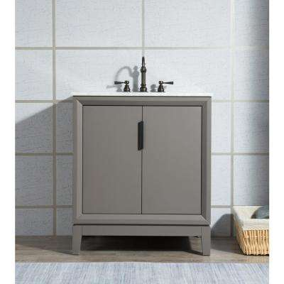 30 in. Single Sink Bath Vanity in  Carrara White Marble Vanity Top in Cashmere Grey w/ Mirror and Lavatory Faucet
