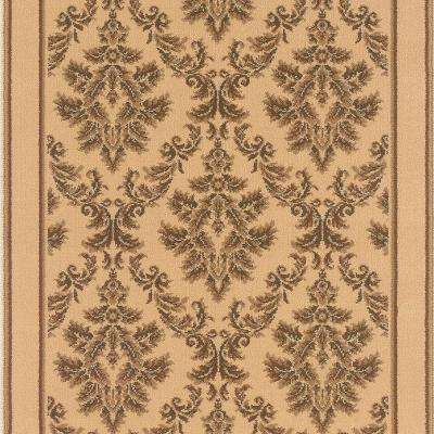 Kurdamir Damask Ivory 26 in. x Your Choice Length Stair Runner