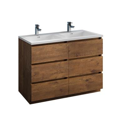 Lazzaro 48 in. Modern Double Bathroom Vanity in Rosewood with Vanity Top in White with White Basins