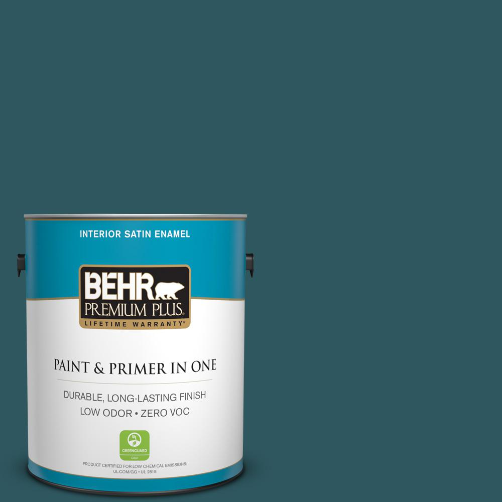 1-gal. #PPF-56 Terrace Teal Zero VOC Satin Enamel Interior Paint