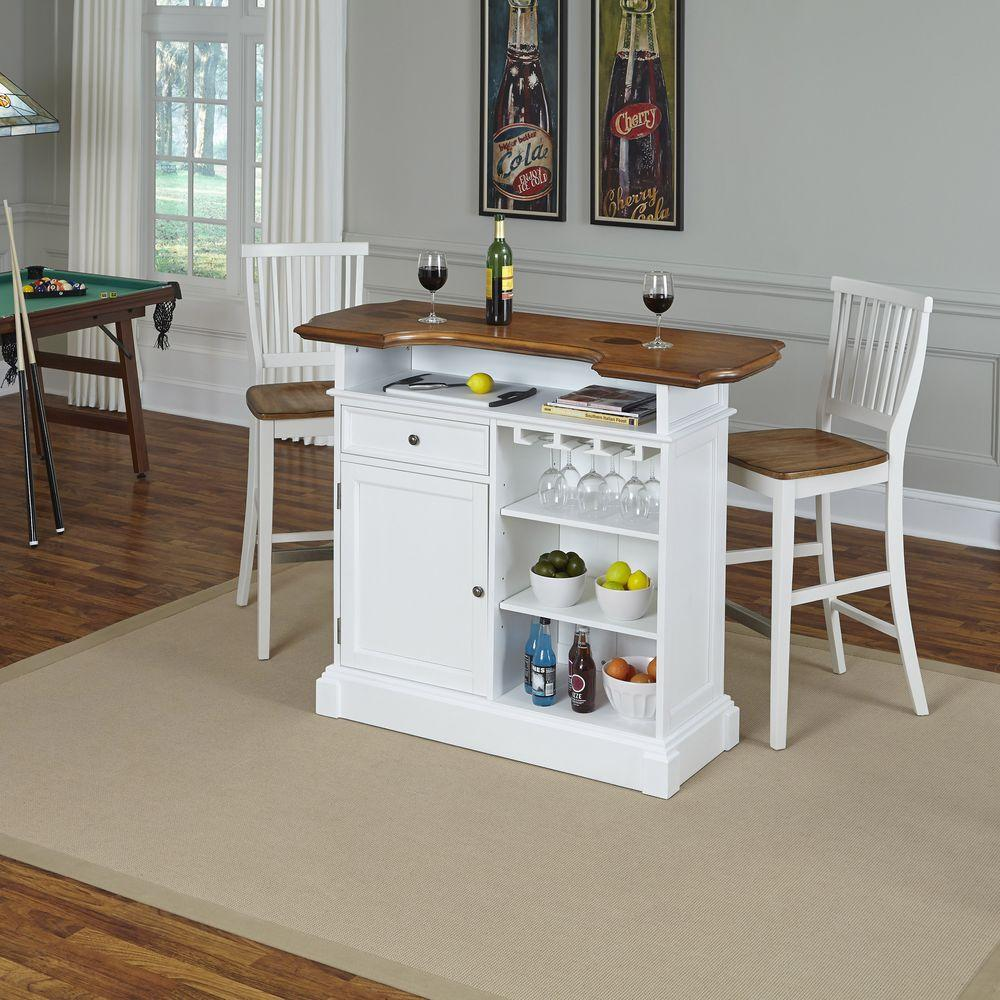 Home Styles Americana 3-Piece White and Oak Bar Table Set-5002-998 ...