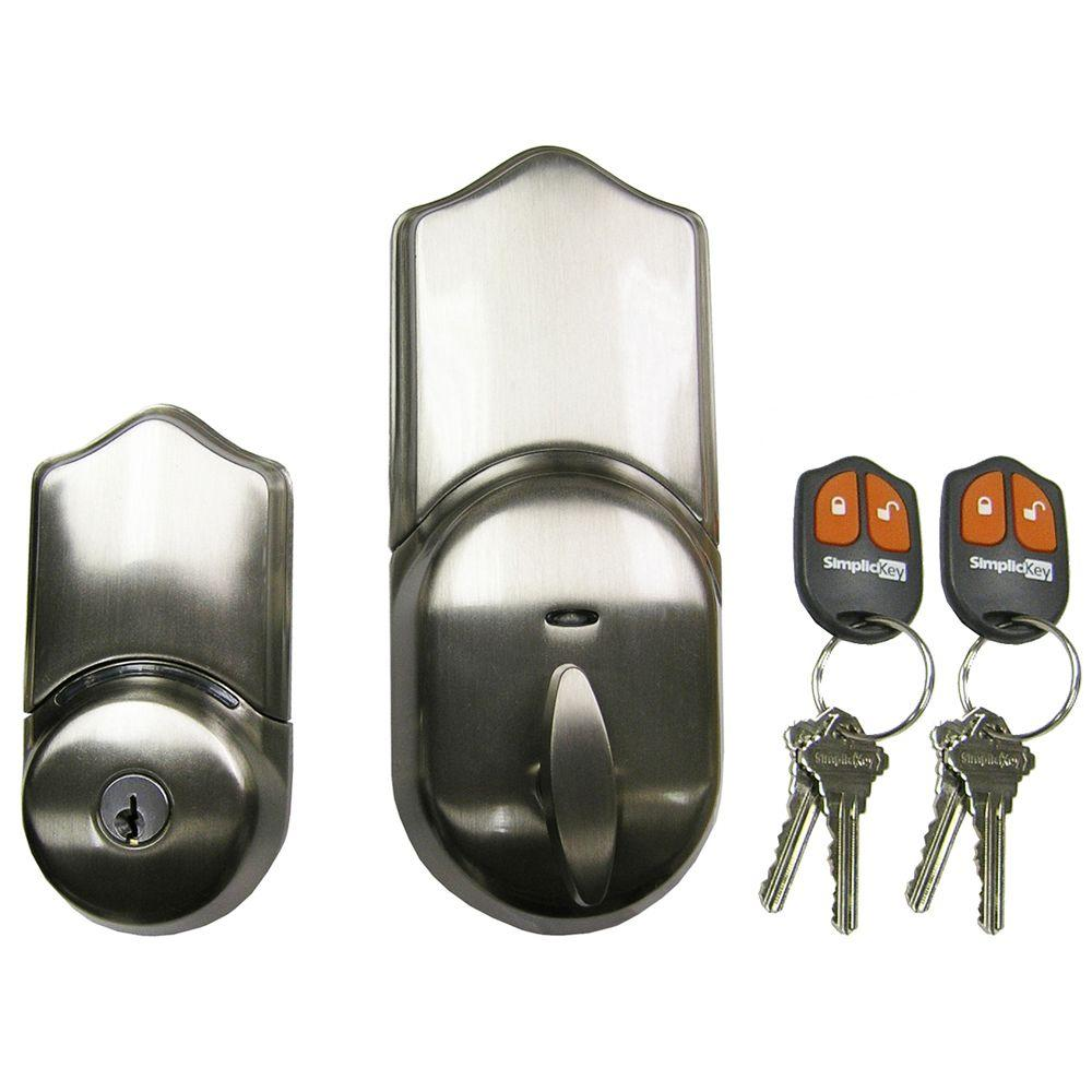 Single Cylinder Satin Nickel Remote Control Electronic Deadbolt