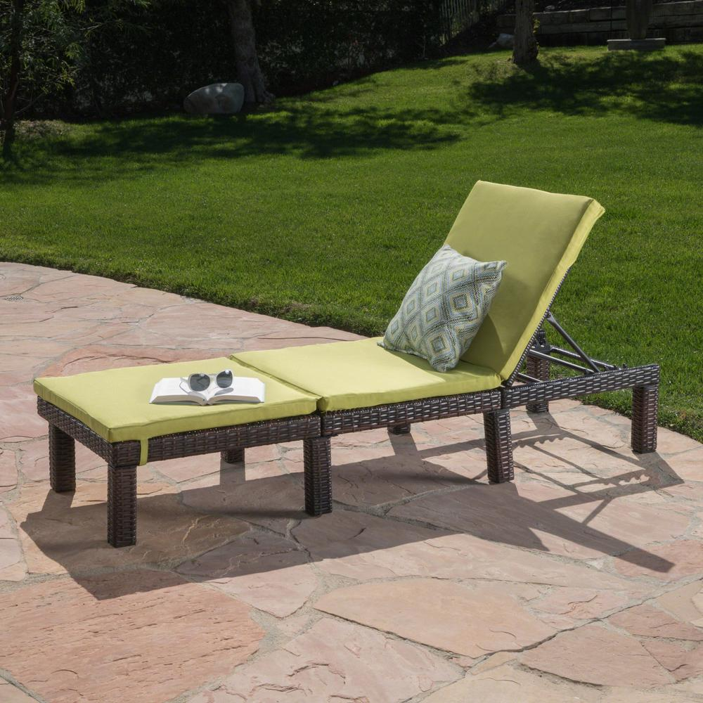 Fantastic Noble House Caesar Multi Brown Wicker Outdoor Chaise Lounge With Green Cushion Ncnpc Chair Design For Home Ncnpcorg
