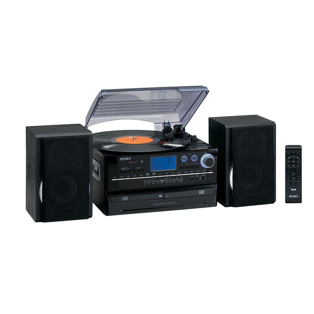 Jensen 3-Speed Stereo Turntable Music System with CD/Cass...