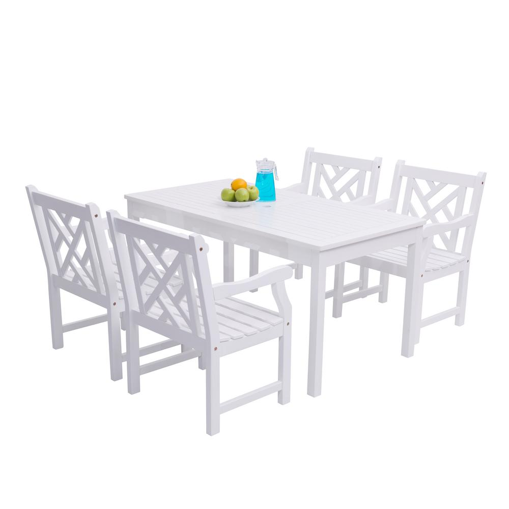 Vifah Bradley Acacia White 5 Piece Patio Dining Set With 32 In W Table And Herringbone Back Armchairs V1336set8 The Home Depot