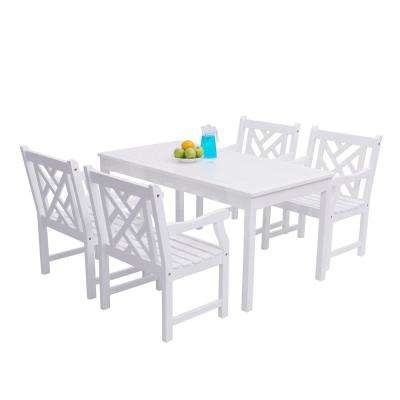 Bradley Acacia White 5-Piece Patio Dining Set with 32 in. W Table and Herringbone, Back Armchairs