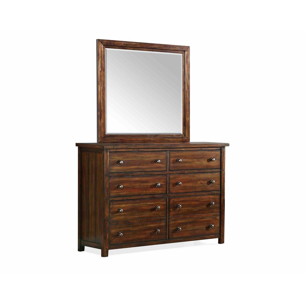 Danner 8-Drawer Chestnut Dresser with Mirror