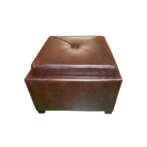 Le House Andrea Brown Leather Tray Top Storage Ottoman