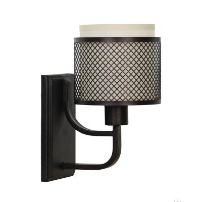 Summit Collection 1-Light Bronze Mesh Wall Sconce with Inner Cream Fabric Shade