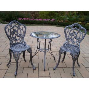 Hummingbird Antique Pewter 3-Piece Aluminum Outdoor Bistro Set by