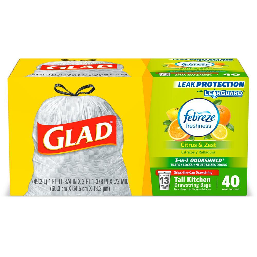 Glad 13 Gal Citrus Zest Febreze Odor Shield Drawstring Trash Bags 40 Count