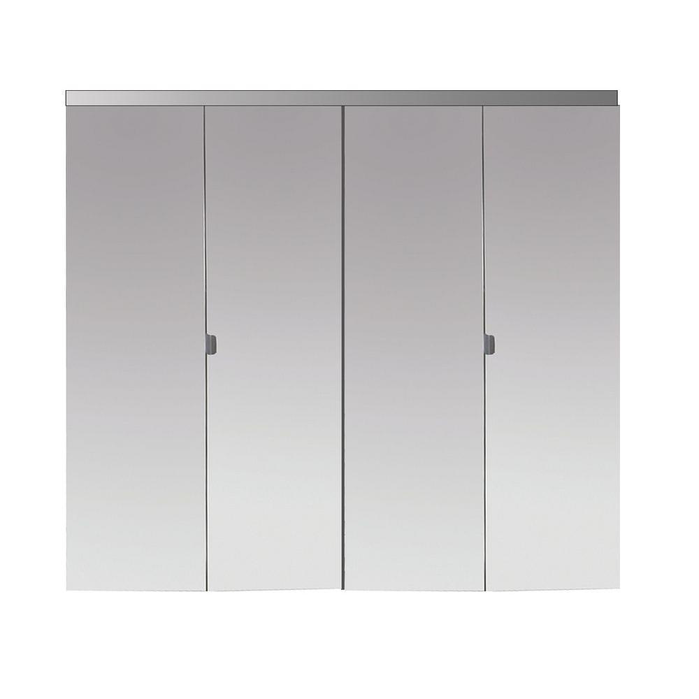 Impact Plus 42 in. x 84 in. Beveled Edge Mirror Solid Core MDF Full-Lite Interior Closet Wood Bi-Fold Door with Chrome Trim