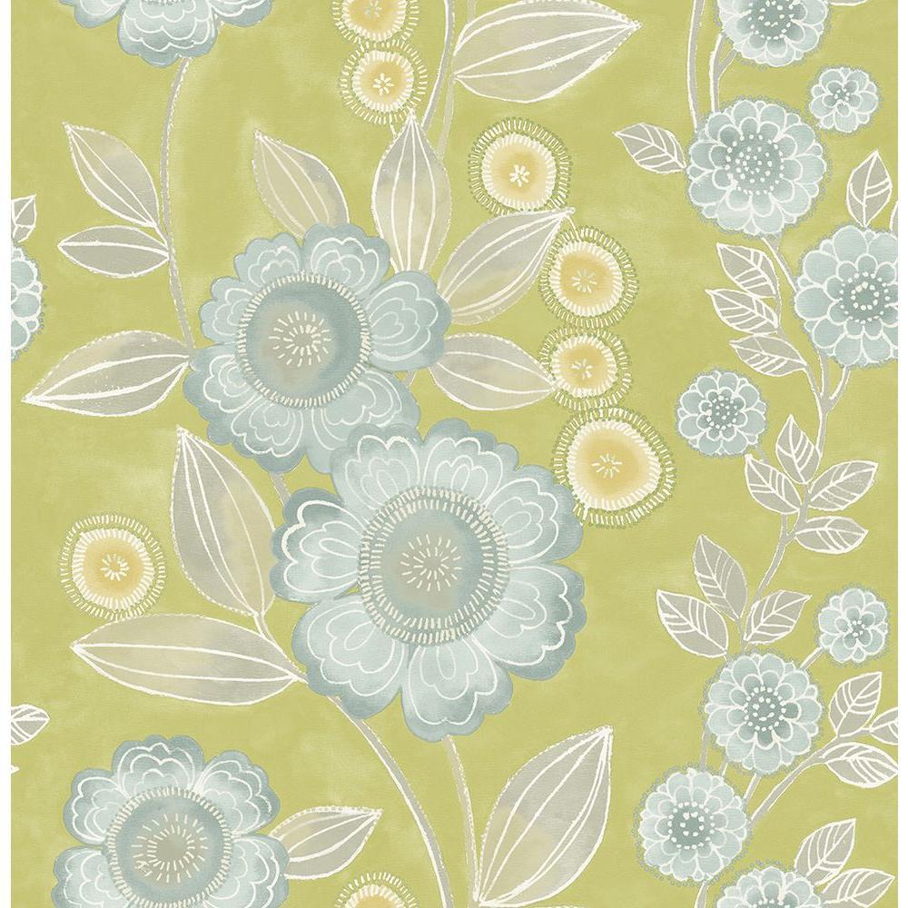 A-Street Bloom Green Floral Wallpaper 2656-004035