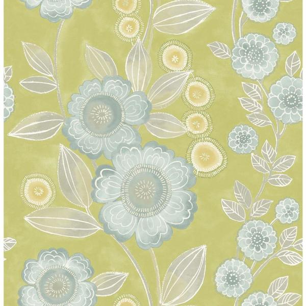 A-Street Bloom Green Floral Wallpaper Sample 2656-004035SAM
