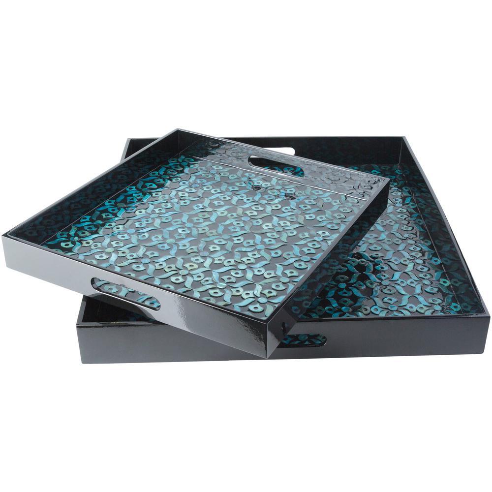 Utone Teal 2-Piece Decorative Tray Set