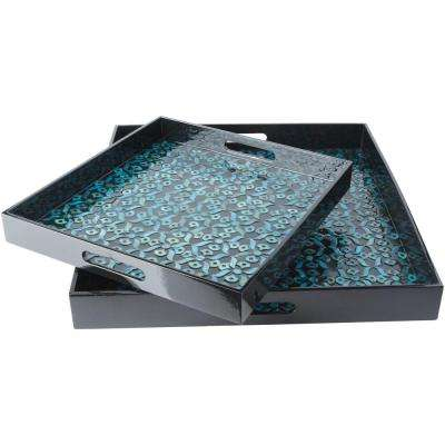 Utone Teal 2-Piece Decorative Tray Set