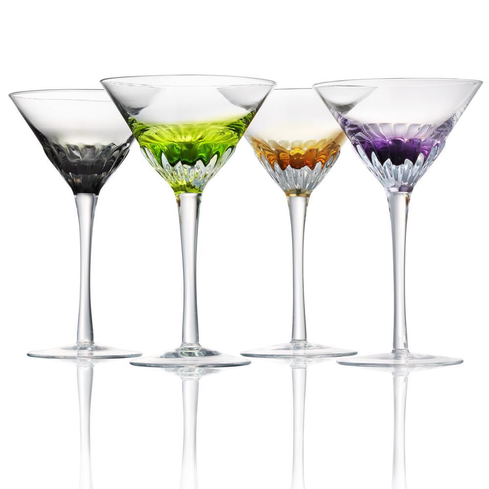 Assorted Color Solar Martini Glasses (Set of 4)