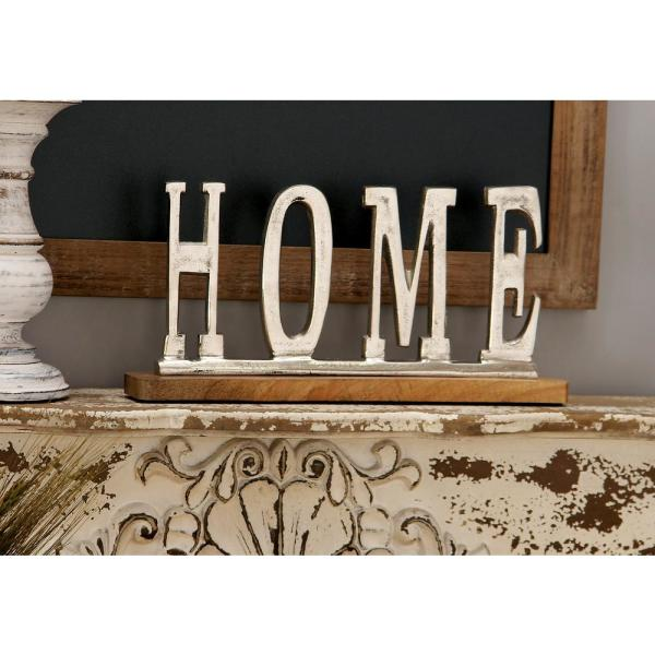 13 In X 6 In Silver Aluminum Home Standing Sign On Oak Brown Wooden Base