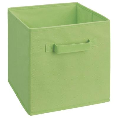 11 in. D x 11 in. H x 11 in. W Green Fabric Cube Storage Bin