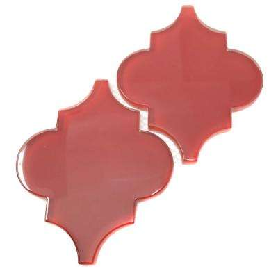 Ruby Red Arabesque 4 in. x 5 in. x 8mm Glass Backsplash and Wall Tile (0.16 sq. ft. / each)