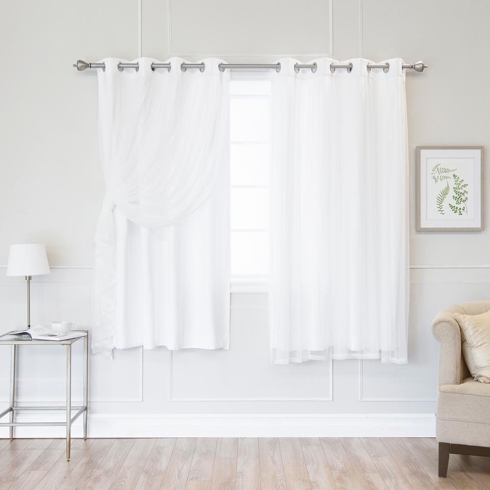 Best Home Fashion White 63 In L Marry Me Lace Overlay Room Darkening Curtain Panel