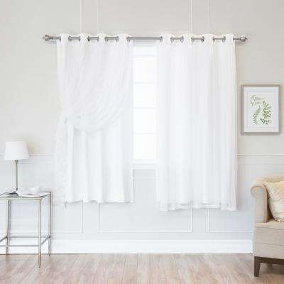 White 63 in. L Marry Me Lace Overlay Room Darkening Curtain Panel (2-Pack)