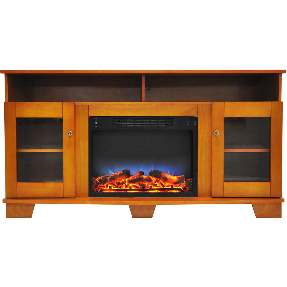 Savona 59 in. Electric Fireplace in Teak with Entertainment Stand and