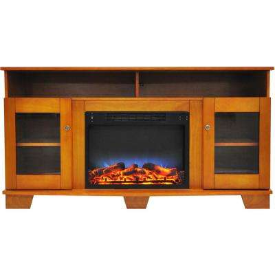 Savona 59 in. Electric Fireplace in Teak with Entertainment Stand and Multi-Color LED Flame Display