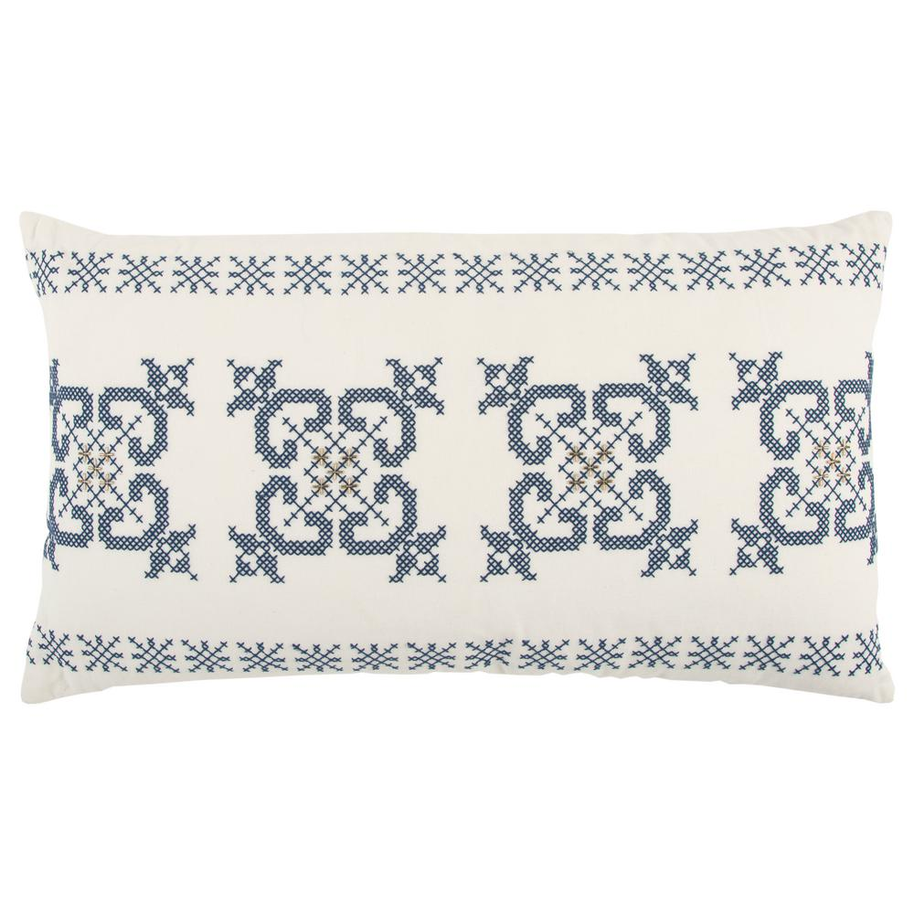 Ivory and Blue Cotton 26 in. X 14 in. Decorative Filled