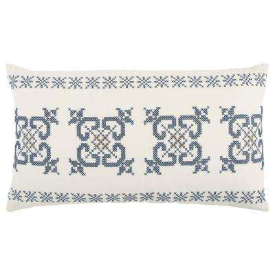 Ivory and Blue Cotton 26 in. X 14 in. Decorative Filled Throw Pillow