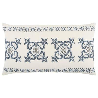 Ivory and Blue Ivory and Blue Geometric Polyester 26 in. x 26 in. Throw Pillow