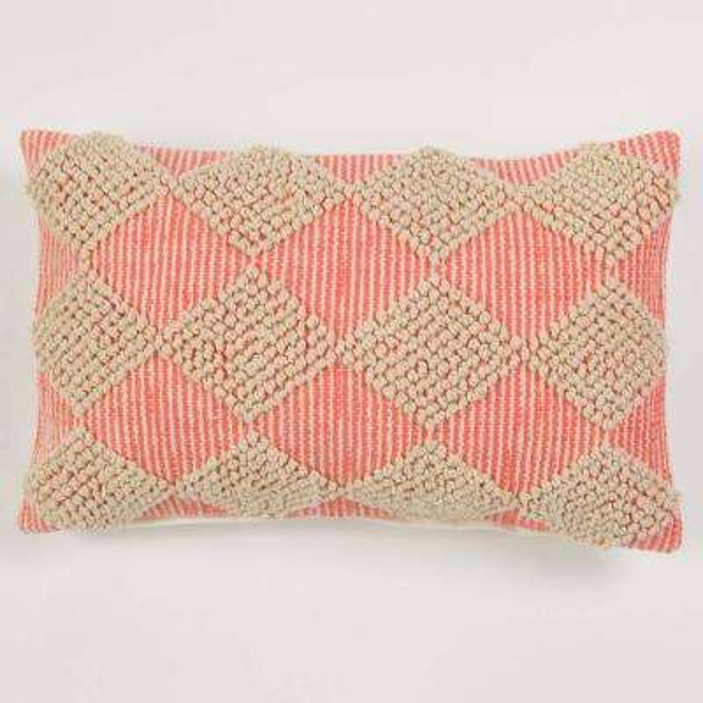 American Colors Handwoven Coral Textured Raised Diamonds