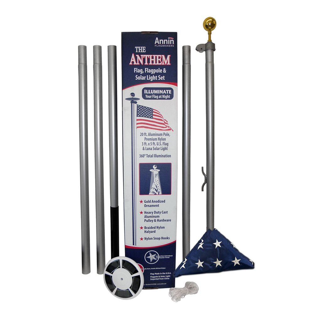 Annin Flagmakers 20 Ft. Aluminum Flagpole With 3 Ft. X 5 Ft. Nylon US Flag  And Solar Light 742371   The Home Depot