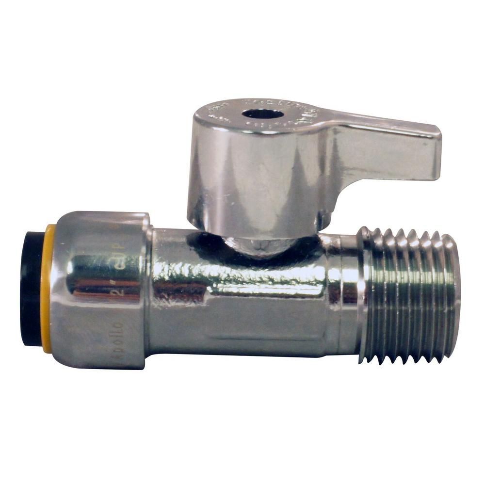 1/2 in. Chrome Plated Brass Push-to-Connect x 1/2 in. MNPT Quarter